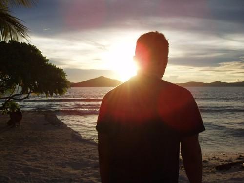 夕陽を浴びるてっちゃん